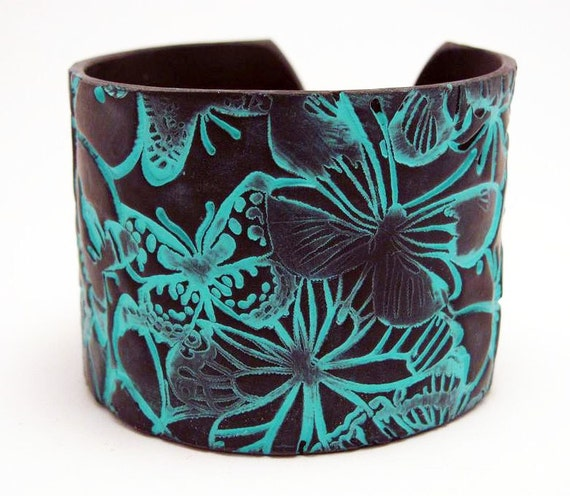 Polymer Clay Jewelry Black Cuff Bracelet Wide Cuff Turquoise Butterfly Motif Hand Stamped