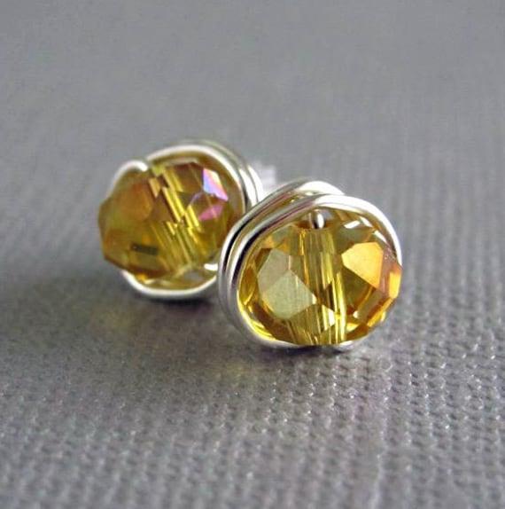 Stud Earrings Amber Crystal Earrings Nickel Free Wire Wrapped Jewelry November Birthstone