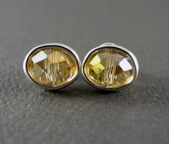Stud Earrings Nickel Free Amber Earrings Small Crystal Beaded Wire Wrapped Earrings November Birthstone Jewelry Yellow Earrings