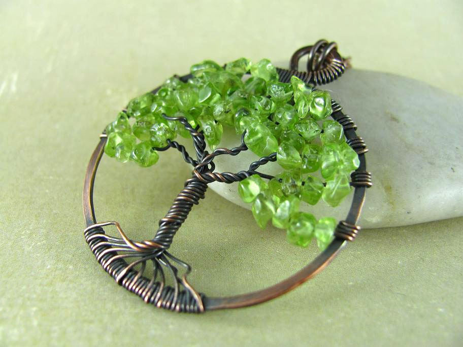 tree of pendant wire wrapped pendant necklace peridot
