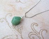 Sterling Silver Handmade Wire Wrapped Green Jade and Freshwater Pearl Necklace