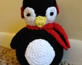 Crochet Stuffed Penquin Winter Animal Toy With Rattle READY TO SHIP