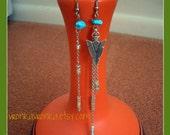 Flying Silver Arrow - Long Asymmetrical Turquoise Chip & Chain Earrings