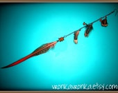 Bohemian Rhapsody - Red Tip Feather and Amber Chip Beads Single Earring