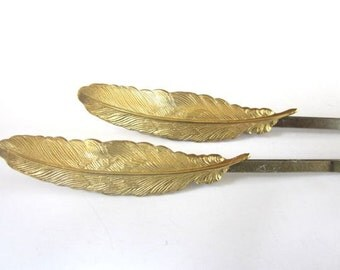 Feather Hairpins Bohemian Wedding Hair Accessories Gold Woodland Clips