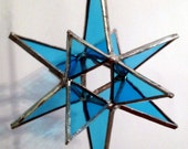 """Stained Glass Moravian Star Blue - 4""""x6"""""""