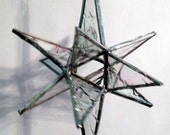 """Stained Glass Moravian Star Clear Mother of Pearl - 4""""x6"""""""