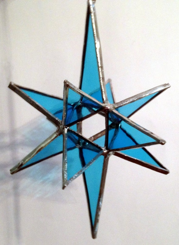 "Stained Glass Moravian Star Blue - 4""x6"""