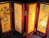 Vintage Miniature Handpainted  Silk Asian Oriental Glass Screen