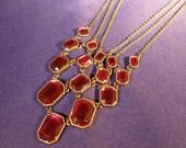 Vintage Red Glass Bib Necklace & Earrings Demi Parure
