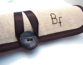 Cufflink organizer roll Personalized Initials with transparent organza pockets. All your cufflinks in sight and protected