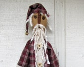Primitive Santa Claus Doll, Handmade Santa, Plaid Coat Santa Doll, Primitive Christmas, Primitive Holiday Decoration, Country Santa Claus