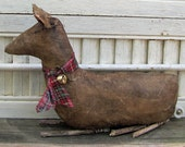 Primitive Christmas Reindeer, Holiday Deer Decoration, Christmas Deer, Primitive Deer, Primitive Shelf Sitter, Holiday Primitives