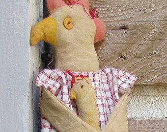 primitive chicken doll Lois Leghorn - primitive folk art chicken - primitive country decor - farm decor - primitive kitchen chicken