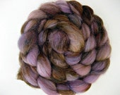 Purple and Brown, Hand-dyed Merino Alpaca Silk, 2.6 oz, Purple Cat, Spinning Upgrade Available