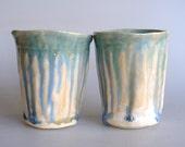Ceramic Tumbler set,  coffee cup, tea cup, blue white pottery, wabi sabi, pottery tumbler, ceramic tumble