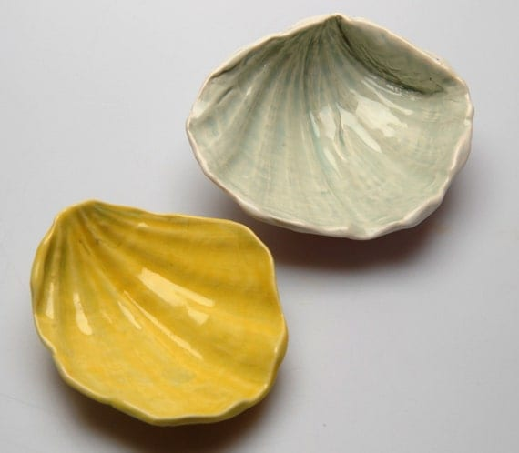 Ceramic Seashell Bowls, soap dishes, spoon rests, tea bag holders trinket dishes, Beach House Decor
