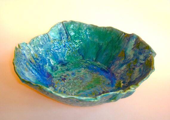 ceramic bowl, salad bowl, turquoise, aqua marine, sea inspired