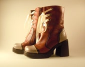 CLEARANCE: Bohemian Steampunk Upcycled Art Boots size 7.5