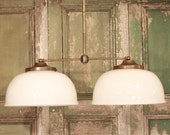 """Chandelier Lighting with 1930's """"New Old Stock"""" Large Ballroom White Glass Shade and Custom Finished Solid Brass Down Rod"""
