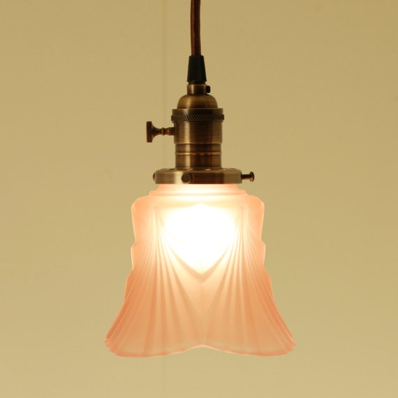 Hanging Pendant Light With Vintage Glass in Honeysuckle Color