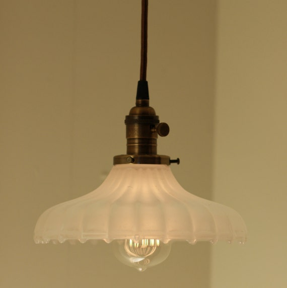 Hanging Pendant Light Fixture with Vintage Milk Glass Shade