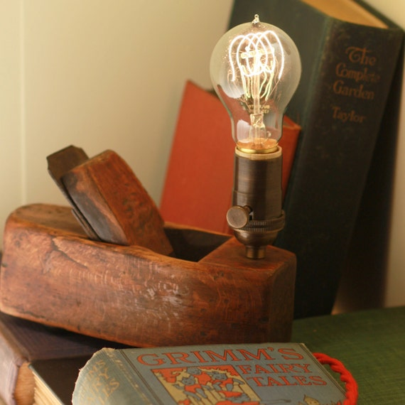 Table Lamp Fixture made from a Vintage Woodworking Plane - Close Shave - OOAK Lamp
