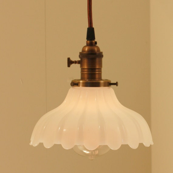 Hanging Light Fixture with Vintage White Milk Glass Shade My
