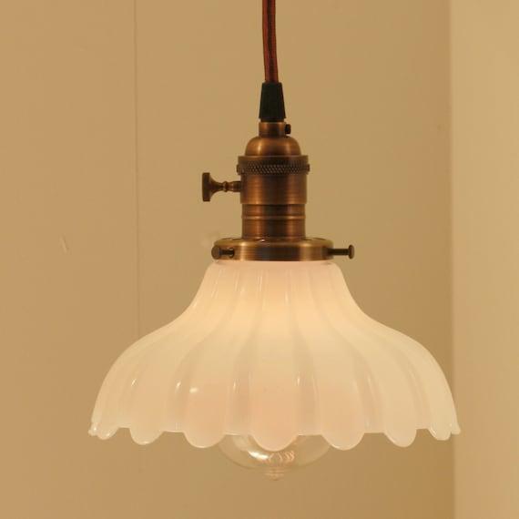 Vintage Green Glass Light Fixture: Hanging Light Fixture With Vintage White Milk Glass Shade My
