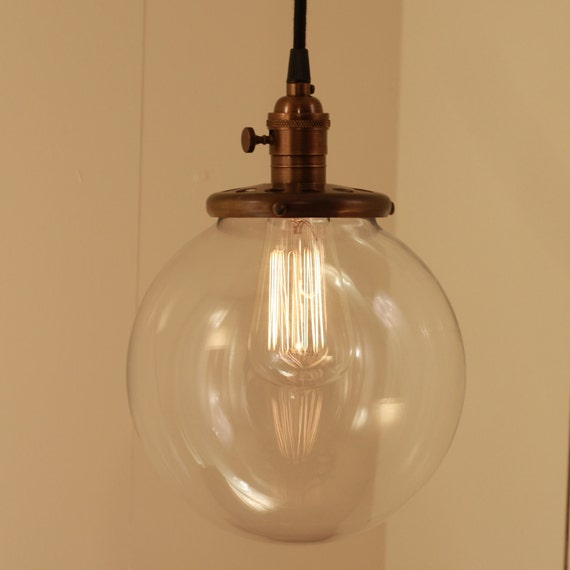 "Reserved for Lisa - TWO - Hanging Pendant Light Fixture with 8"" Glass Globe Shade and Exposed Socket"