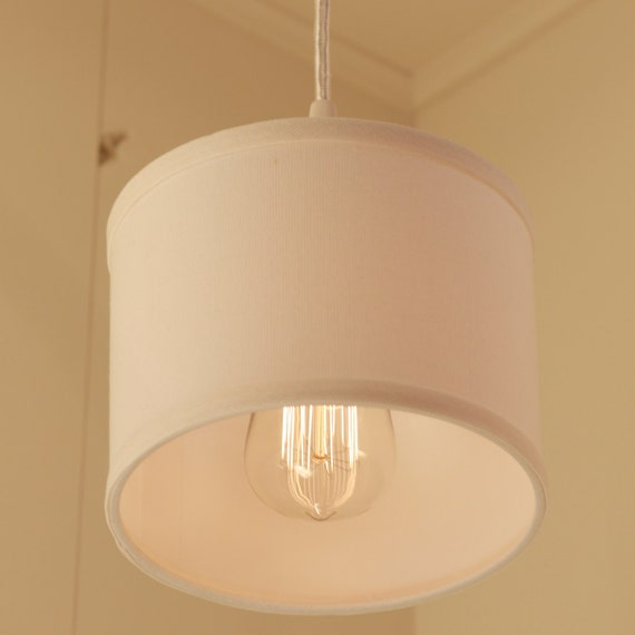 Drum Shade Lighting With Cream Linen Fabric Drum Shade - The White Album