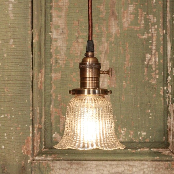 Handmade Lighting with Vintage Fluted Glass and Exposed Socket