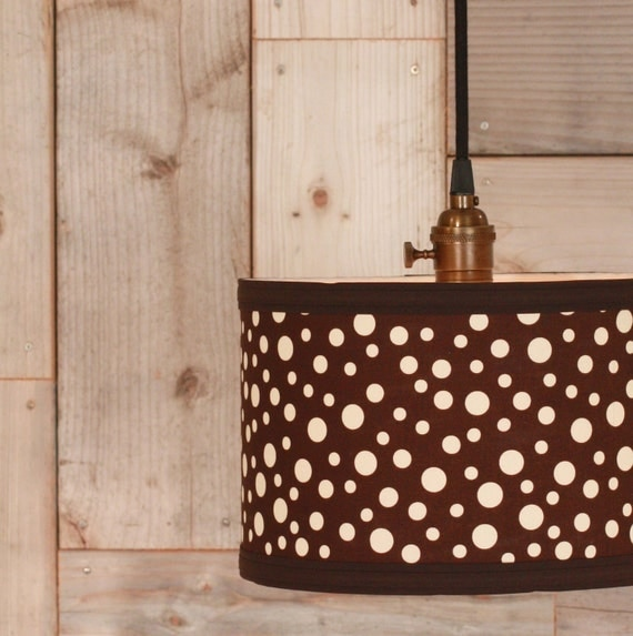 Pendant Lighting With Chocolate Fabric Drum Shade
