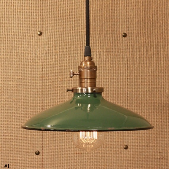 Lighting With Vintage Industrial Enamel Shade & Reproduction Wire