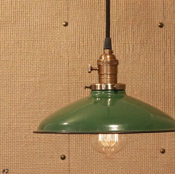 Industrial Lighting With Vintage Industrial Enamel Shade & Reproduction Wire