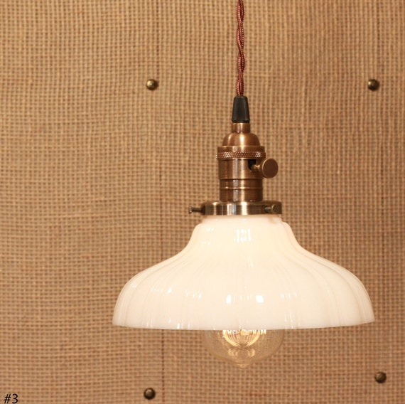 Hanging Pendant Lighting with Vintage White Milk Glass Shade