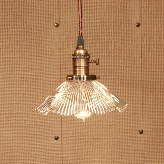 Pendant Lighting with Vintage Holophane Glass Ruffle Shade and Reproduction Wire