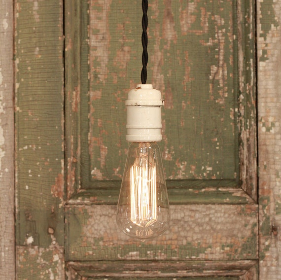 Vintage Lighting with Vintage Porcelain Socket from the Scranton Lace Factory and Reproduction Cotton Twist Wire