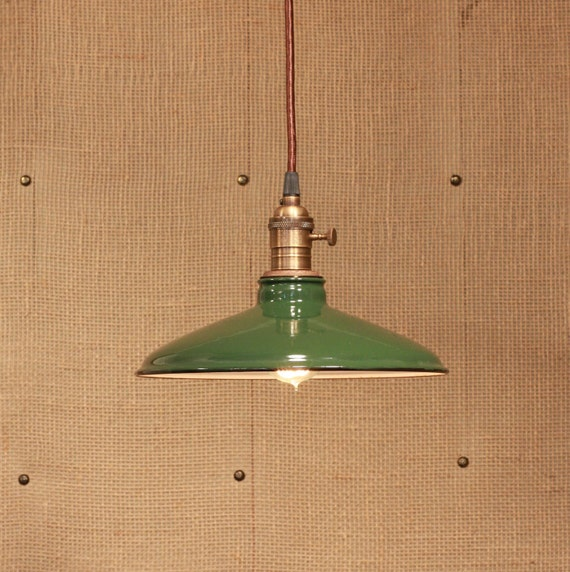 Factory Lighting with Vintage Green Enamel Shade From The Scranton Lace Factory