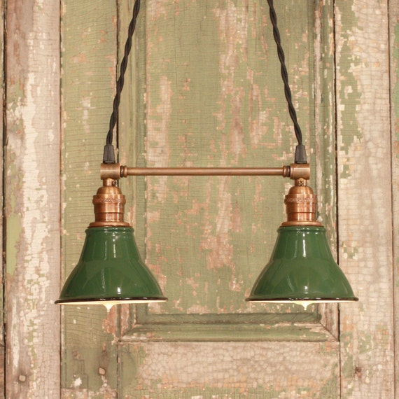 Lighting with Twin Vintage Enamel Shades and Antique Brass Spreader Bar and Black Twisted Wire