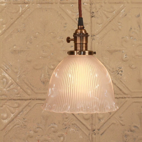 Lighting with Vintage Holophane Opaque Shade with Gorgeous Ruffled Edge