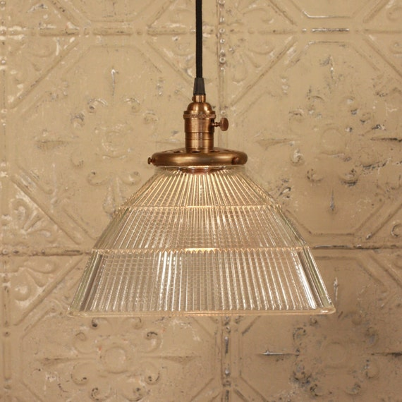 Pendant Light With Vintage Square Holophane Glass Shade