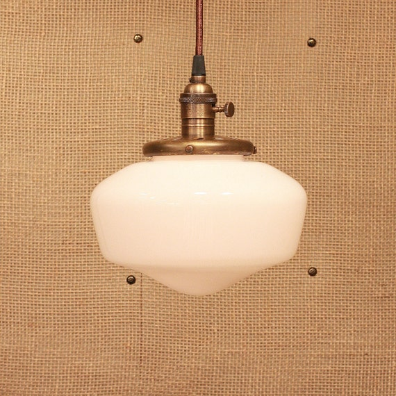 Pendant Light with Schoolhouse Glass Design and Reproduction Wire