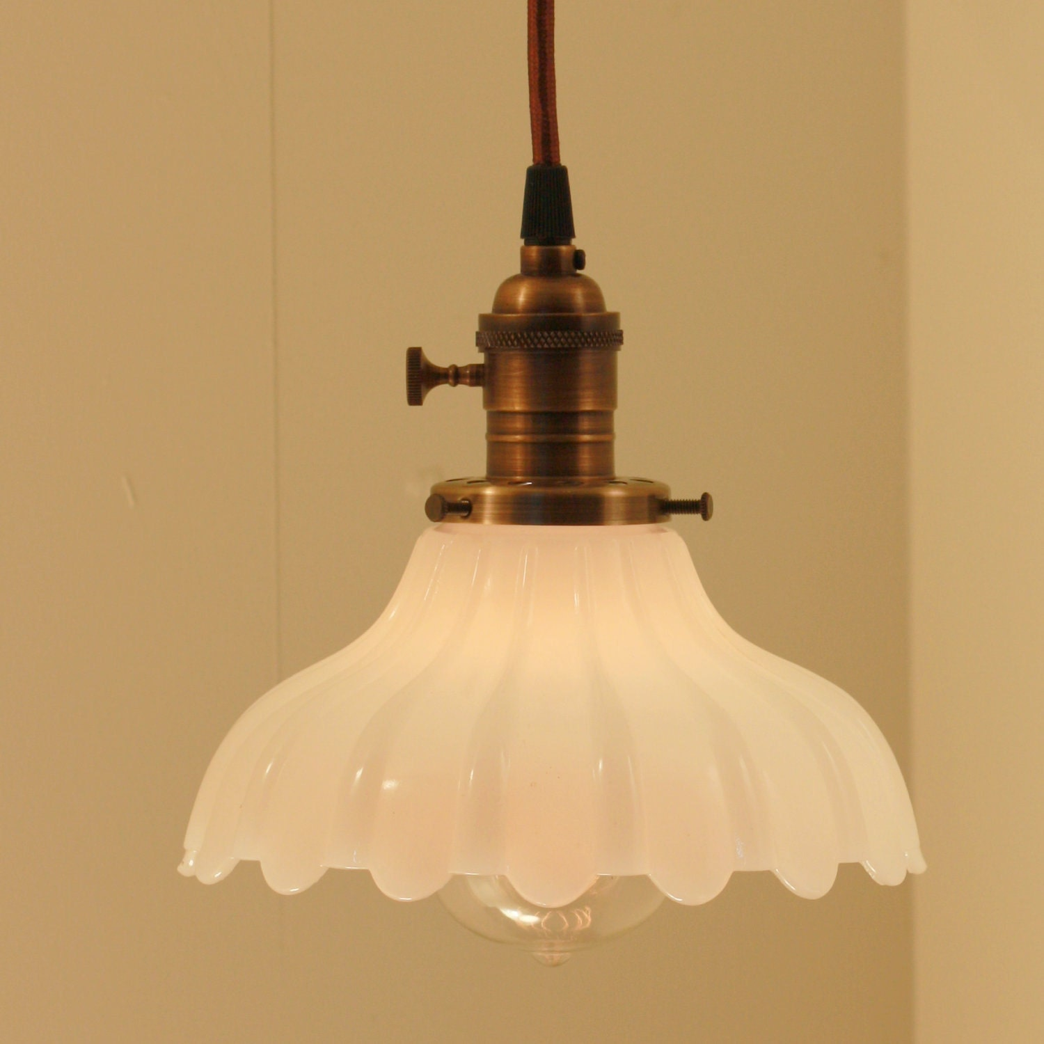 Hanging light fixture with vintage white milk glass shade my for Antique pendant light fixtures