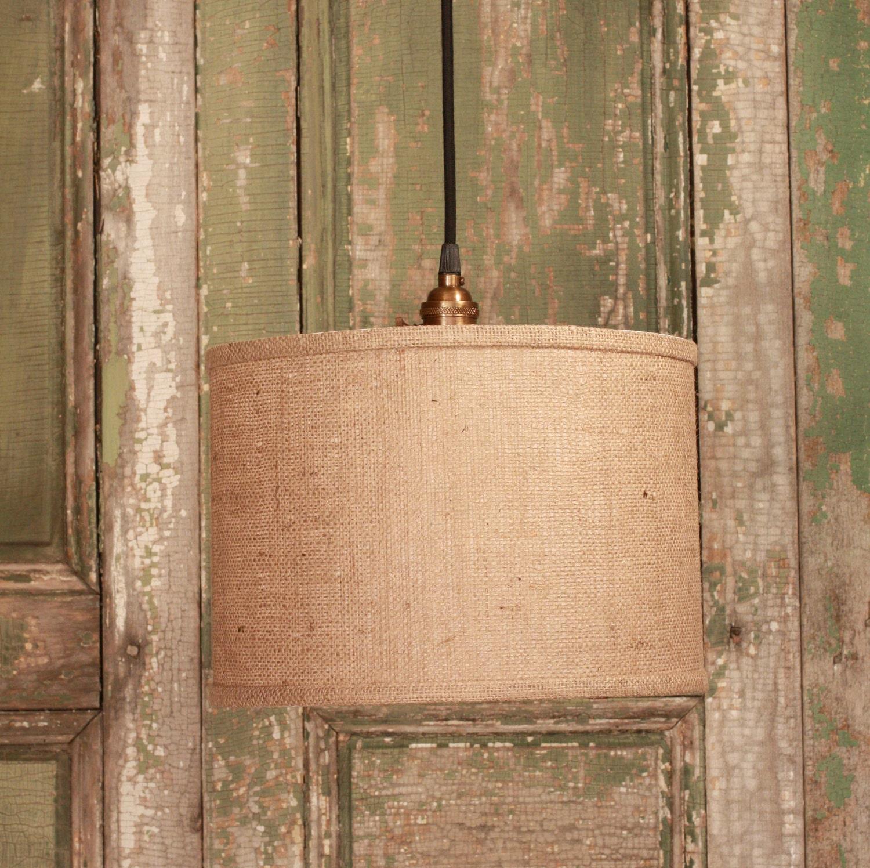 Burlap drum shade lighting with 13 diameter warm burlap for Burlap lights