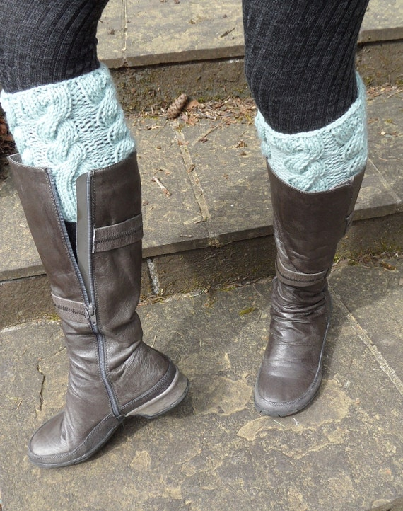 Handknit Grey-Blue Wool Cabled Boot Toppers