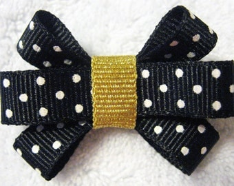 Black and Gold Itty Bitty Bow