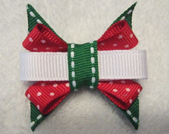 Holiday/Christmas Red and Green Itty Bitty Bow
