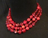 Vintage 1950s 1960s Ruby Red Three Strand Necklace