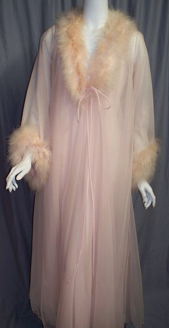 Pink Marabou Peignoir Set Robe And Gown 1960s Small Medium